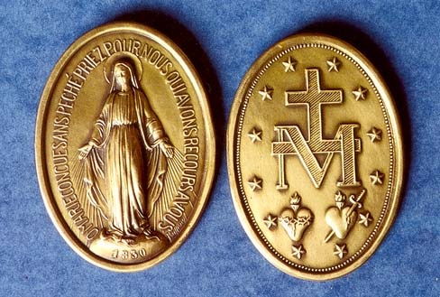 marian medal on blue